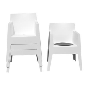 Driade - Toy Aktionsset 4er Set mit Sitzauflagen - weiß/Polypropylen/4 Stück/inkl. 4 Sitzauflagen in anthrazit geschenkt