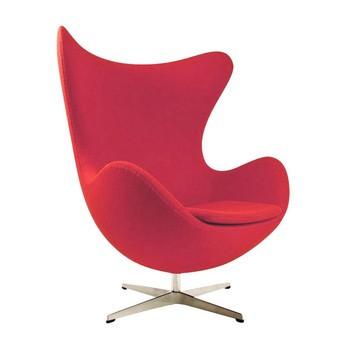Fritz Hansen - Egg Chair/ Das Ei Loungesessel Stoff - rot/Gestell aluminium/Stoff Divina 623