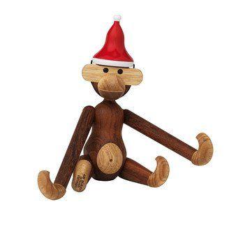 Kay Bojesen Denmark - Weihnachtsgeschenkset Affe mit Mütze - braun/H 20cm/Mütze geschenkt
