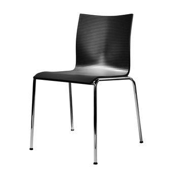 Engelbrechts - Chairik XL121 Stuhl - schwarz/PUR Integralschaum/Gestell: 18mm Rohr blankverchromt/55x58x79cm