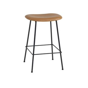 - Fiber Barhocker 65cm - cognac/schwarz/Sitzfläche Leder/BxHxT 45x66x44cm/Gestell Stahl schwarz: pulverbeschichtet
