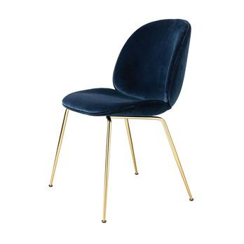 Gubi - Beetle Dining Chair Samt Gestell Messing