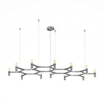 Nemo - Crown Plana Major Pendelleuchte - aluminium/glänzend/poliert/186x88cm