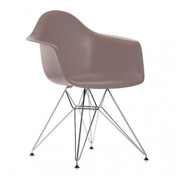 Vitra - Eames Plastic Armchair DAR Armlehnstuhl H41cm - mauve grau/Polypropylen/Eiffelturmgestell chrom/Originalhöhe