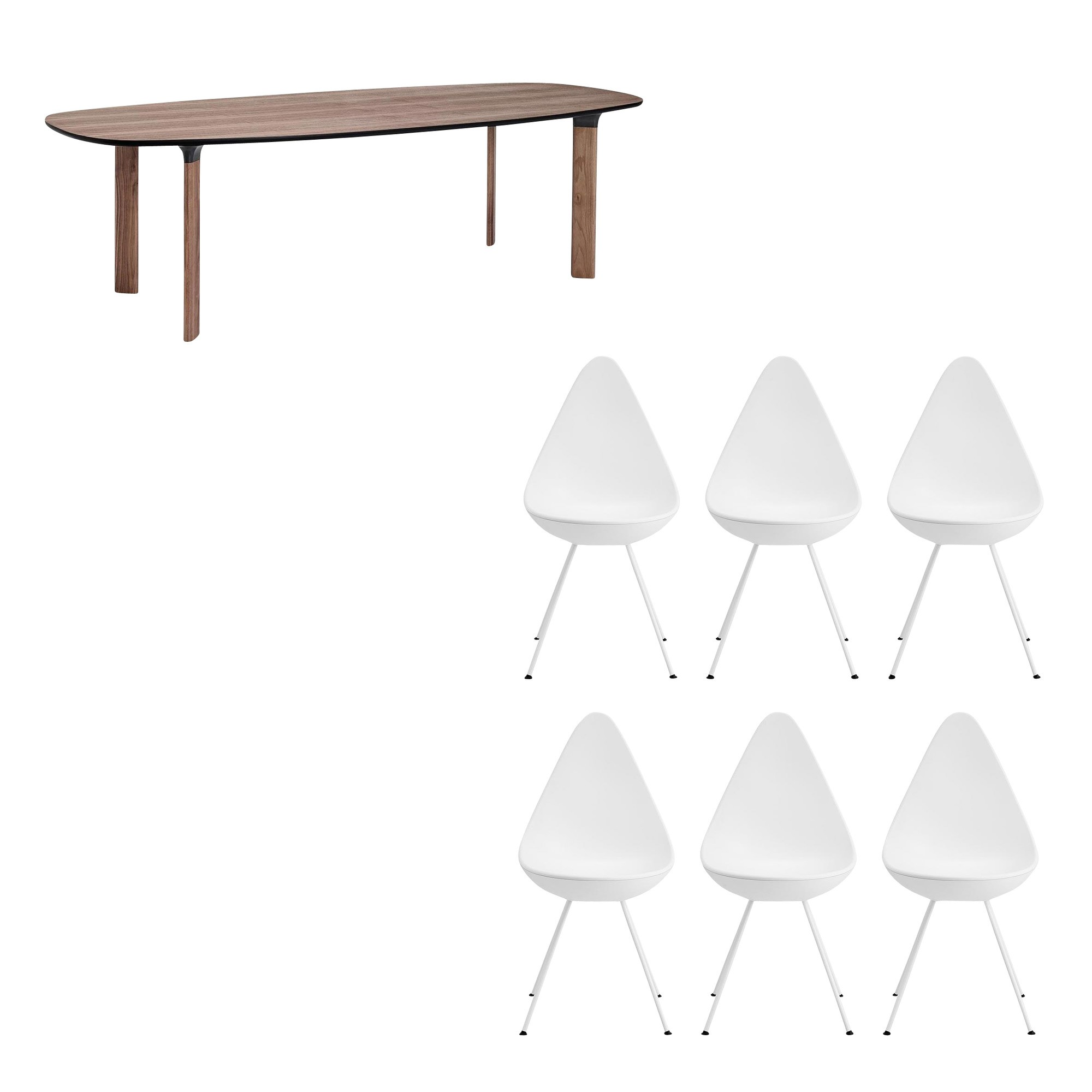 Fritz Hansen Analog Dining Table 6 Drop Chairs Set