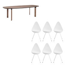 Fritz Hansen - Analog™ Esstisch + 6 Drop™ Stühle Set