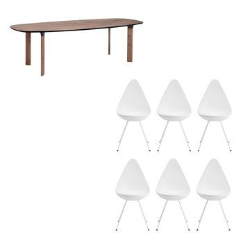 analog dining table 6 drop chairs set fritz hansen. Black Bedroom Furniture Sets. Home Design Ideas