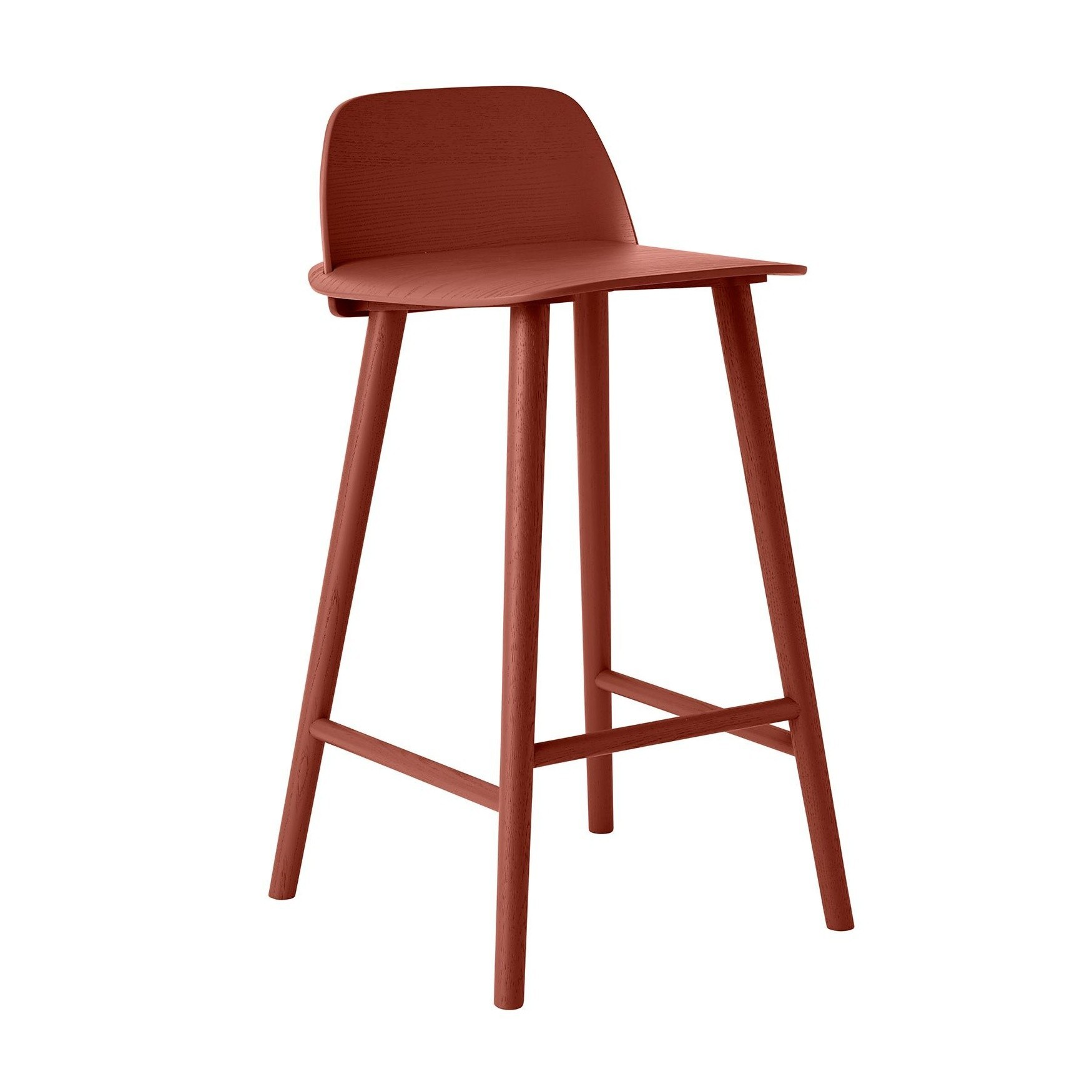 Muuto Nerd Bar Stool 65 Dark Red Natural