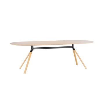 la palma - Fork P128 Esstisch H: 74cm  - eiche gebleicht/schwarz/Holz / Eiche/H74cm / Tischplatte 200x90cm