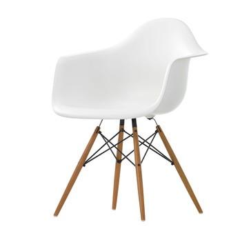 Vitra - Eames Plastic Armchair DAW Armlehnstuhl Esche - weiß/Gestell Esche honigfarben/Querverstrebungen aus Rundstahl schwarz