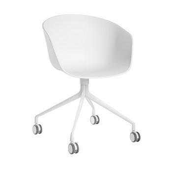HAY - About a Chair 24 Armlehn-Drehstuhl mit Rollen - weiß/Gestell aluminium pulverbeschichtet weiß/mit Soft-Rollen für alle Böden