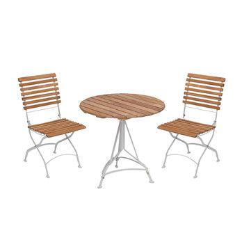 Skagerak - Grenen Gartenset 3tlg. - teak/Gestell hellgrau/2 Stühle + 1 Tisch Ø 75cm