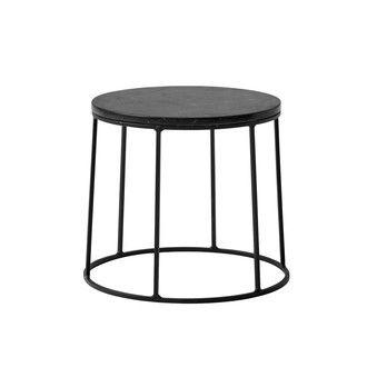 Menu - Wire Table Marble Beistelltisch 21,8cm - schwarz/pulverbeschichtet/H 21,8cm, Ø 23cm