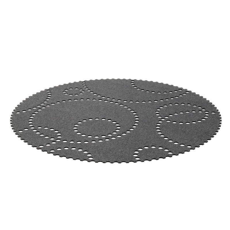 Teppich Rund Grau Filz