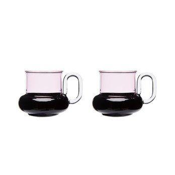 Tom Dixon - Bump Teetassen 2er Set - schwarz/pink/12x12x7,5cm/Lieferbar ab 14.12.2017