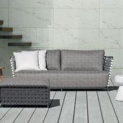 Gervasoni - InOut 803 Poly Rattan Outdoor Sofa 224x81cm - dark grey/grey/white/seat cushion: fabric Rete grigia/frame dark grey/incl. 2 cushions of Dacron/cushion 60x60 cm: fabric Gesso