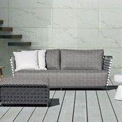 Gervasoni - InOut 803 Outdoor-Sofa 224x81cm - dunkelgrau/grau/weiß/Sitzpolster: Stoff Rete grigia/Gestell dunkelgrau/inkl. 2 Kissen aus Dacron/Kissen 60x60 cm: Stoff Gesso