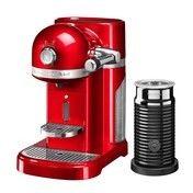 KitchenAid - Artisan 5KES0504 Nespressomaschine + Aeroccino - empire-rot/glänzend/1160W/ 19 bar/mit Aeroccino Milchaufschäumer