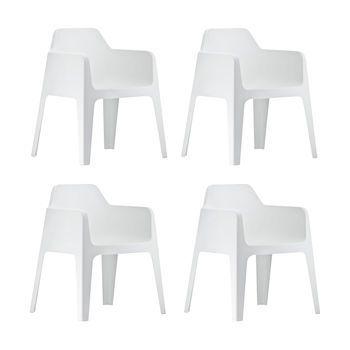 Pedrali - Plus Gartenstuhl/Armlehnstuhl 4er Set - weiß