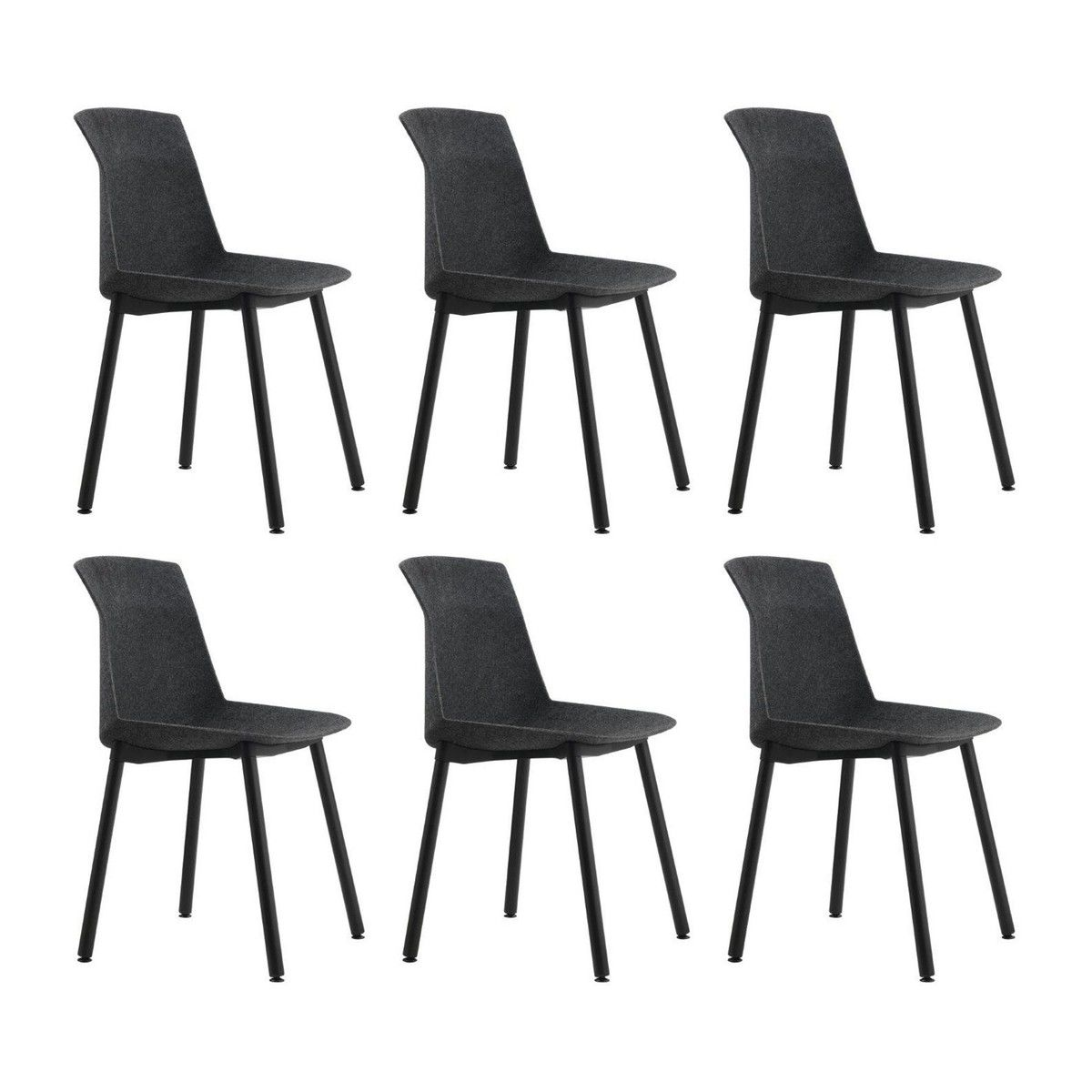 Cassina   Motek Promotion Set 6 Chairs For The Price Of 5   Anthracite/frame