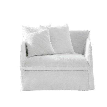 Gervasoni - Ghost 09 Lounge Sessel - weiß/Stoff Lino bianco//Inkl. 2 Rückenkissen Dracon/Daunen
