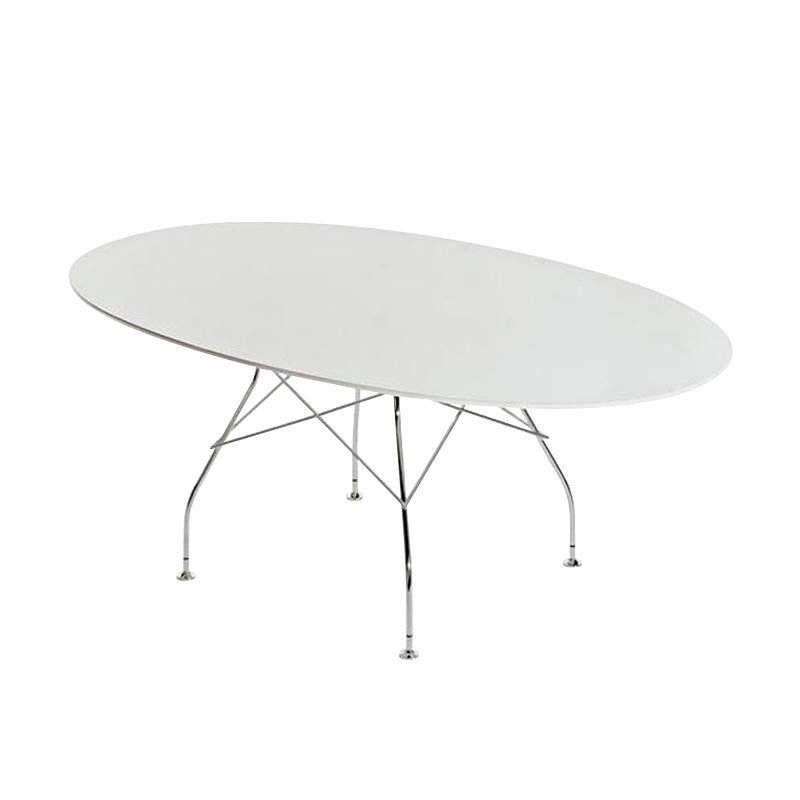 Kartell Glossy Table Oval Frame Silver | AmbienteDirect
