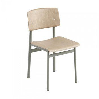 - Loft Chair Stuhl - staubiges grün/eiche/Sitzfläche Eiche/BxHxT 42,5x78,5x48cm/Gestell Stahl grün: pulverbeschichtet