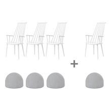HAY - Aktionsset 3+1 J110 Armlehnstuhl + Sitzkissen