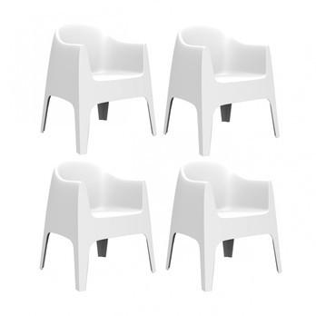 Vondom - Solid Armlehnstuhl 4er-Set - weiß/H x B: 80 x 65cm/für Innen- und Außenbereich geeignet