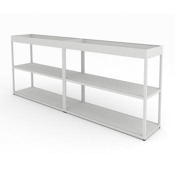 HAY - New Order Sideboard mit Tray 200x79.5cm - hellgrau/lackiert/mit 2 Top Tray à 100cm