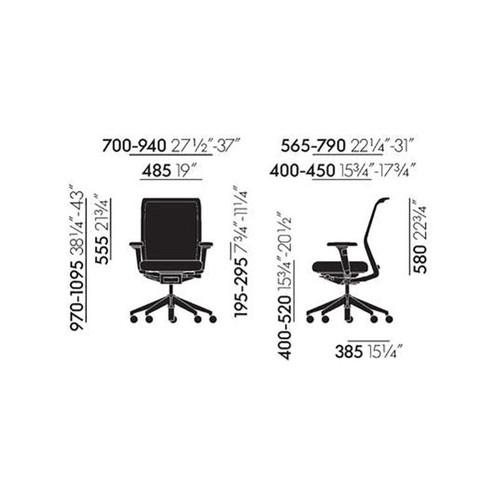 Vitra - ID Mesh Bürostuhl Aluminiumgestell - Strichzeichnung