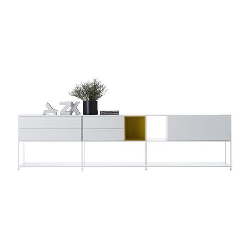 MDF Italia - Minima 3.0 Sideboard 306x33x79cm - weiß/senfgelb/matt/LxBxH 306x33x79cm/7 Fächer davon 2 offene Fächer