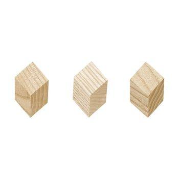 HAY - Iso Hook Wandhaken 3 Stück - natur/3x3x2cm