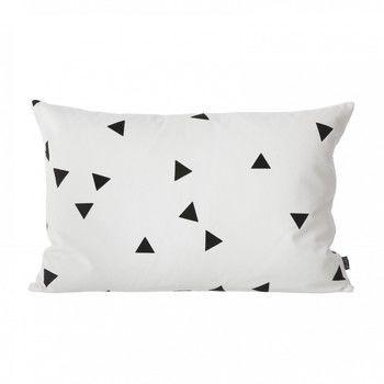 ferm LIVING - Black Mini Triangle Kissen - weiß/schwarz/waschbar bei 30°C/LxB 60x40cm