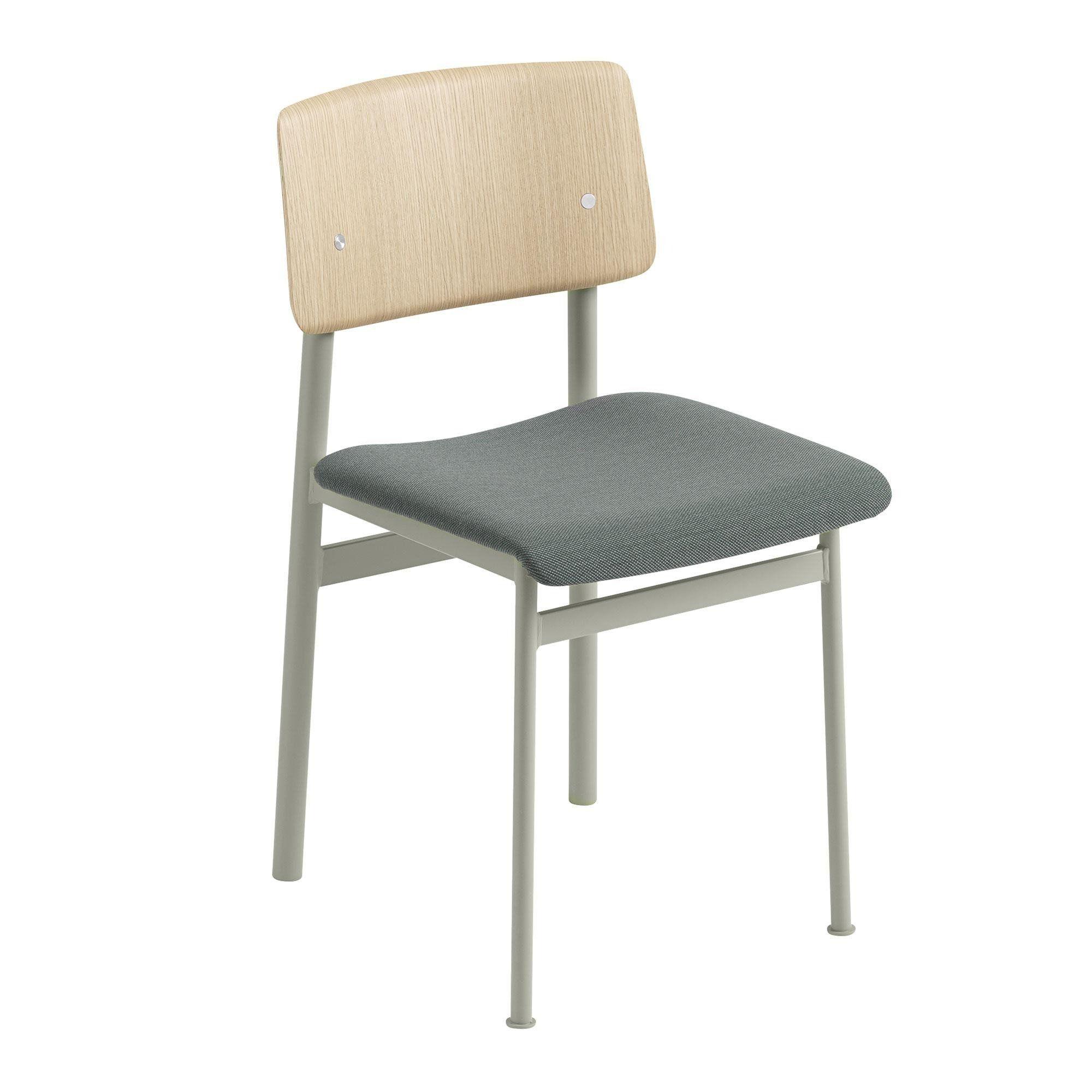 Faszinierend Stuhl Gepolstert Dekoration Von Muuto - Loft Chair - Staubiges Grün/eiche/sitzfläche