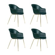 Gubi - Set de 4 chaise avec accoudoirs Bat structure lait