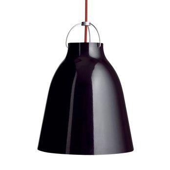 Lightyears - Caravaggio P1 Pendelleuchte - schwarz/hochglänzend/Kabel rot/H 21.6cm/Ø 16.5cm