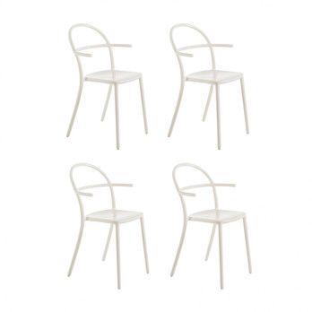 Kartell - Generic C Armlehnstuhl 4er Set - weiß/52x83.5x52cm/Stapelbar