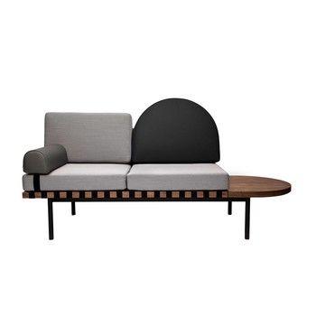 - Grid Daybed 187x86x72cm - grau/schwarz/Stoff Steelcut Trio 2 144 & Leder/Ablage rechts in nussbaum/Gestell schwarz