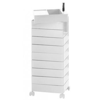Magis - 360° Container 127 mit Rollen - weiß/glänzend/Schubfachhöhe 9,8 cm/ 32x46x127cm/inkl. Tablett/10 Schubladen