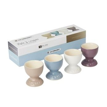 - Le Creuset Geschenkset Eierbecher   - amethyst/mineral blau/sisal/cocos/Auch für Mikrowelle & Gefrierschrank geeignet/4er Set
