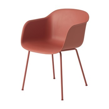 Muuto - Fiber Chair Armlehnstuhl mit Rohrgestell - staubrot/Gestell staubrot/54.5x76.5x55cm