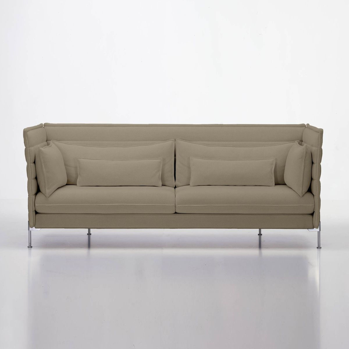 Vitra - Alcove Bouroullec 3-Seater Sofa - Warm Grey/frame Chrome/fabric