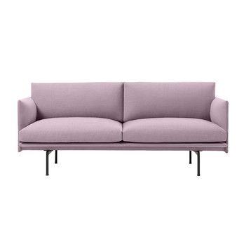 Muuto - Outline Sofa 2 Sitzer - rosa/Stoff kvadrat fiord 551/BxHxT 170x69,5x84cm/Gestell Aluminium schwarz: pulverbeschichtet