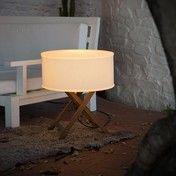 Marset - Cala Outdoor Tischleuchte - weiß/Gestell iroko braun