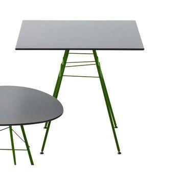 Arper - Leaf Gartentisch quadratisch - Einzelstück - grau/Gestell matt grün/lackiert/Tischplatte aus MDF hydrophob/H x L x B: 74 x 79 x 79cm