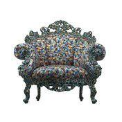Cappellini - Proust Sessel - hellblau, grau, gelb/Textil/geschnitztes Holz