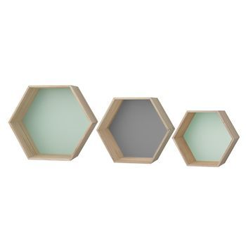 Bloomingville - Hex Wandregal / Boxen Set 3tlg. - natur/grau/mint