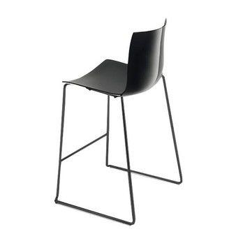 - Catifa 46 0474 Barhocker niedrig Gestell schwarz - schwarz/Außenschale glänzend/innen matt/Gestell schwarz matt V39/Sitzhöhe 64cm