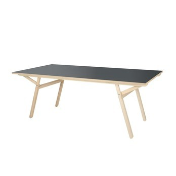 Moormann - Klopstock Esstisch/Schreibtisch 190x90cm - anthrazit RAL7016/Gestell Esche unbehandelt/Tischplatte Melaminharz/H: 74-79cm